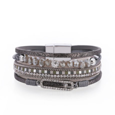 Beaded Crystal Thin Chain Hot-Diamond Multilayer Broad-Edge Magnetic Clasp Leather Bracelet