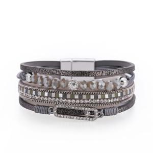 Perlen Kristall Dünnkettige Hot-Diamond Multilayer-Lederarmband mit breitem Rand und Magnetverschluss