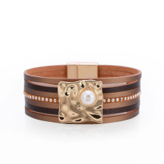 Ethnic style bracelet Bohemian multilayer leather buckle inlaid pearl bracelet magnetic buckle