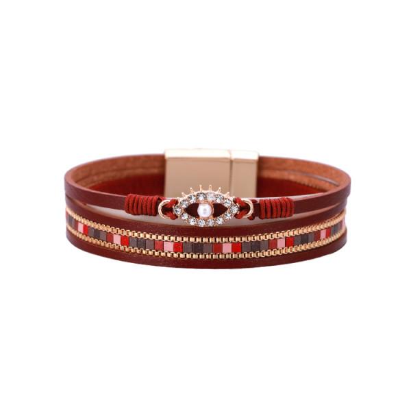 Oval Demon Eye Armband Langes Doppelarmband Lederarmband Wicklung Diamant Leder Cord Armband