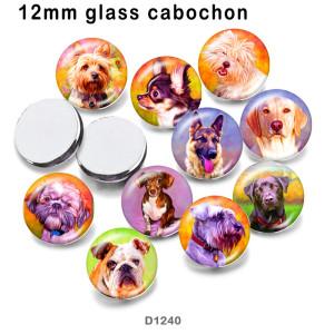10 pcs/lot produits d'impression d'image en verre de chien de compagnie de différentes tailles cabochon d'aimant de réfrigérateur