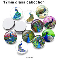 10pcs/lot  peacock  glass picture printing products of various sizes  Fridge magnet cabochon