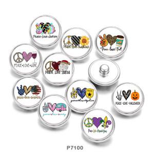 Painted metal 20mm snap buttons  Peaceful  love   Print