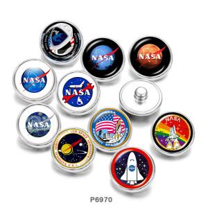 20mm Druckknöpfe aus lackiertem Metall NASA Print