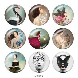Крашеные металлические кнопки 20мм Бабочка Девушка Принт
