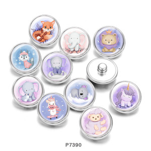 Painted metal 20mm snap buttons    Elephant  Unicorn  Print