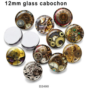 10pcs/lot  Gear  glass picture printing products of various sizes  Fridge magnet cabochon