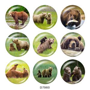 Крашеные металлические кнопки 20мм Медведь Принт