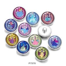 Painted metal 20mm snap buttons  Cartoon   princess    Print