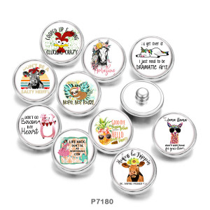 Painted metal 20mm snap buttons   pig   cattle  horse  Print