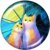 Boutons pression 20 mm en métal peint couleur Love Cat Print