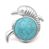 Bouton-pression en métal avec motif dauphin de 20 mm plaqué argent avec bouton-pression en perle turquoise
