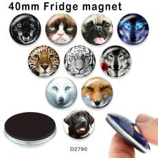 10 pcs/lot chat loup chien verre image produits d'impression de différentes tailles réfrigérateur aimant cabochon