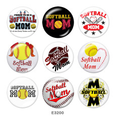 Painted metal Painted metal 20mm snap buttons  snap buttons  Baseball   MOM  Print