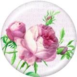 20mm Druckknöpfe aus lackiertem Metall Blumendruck