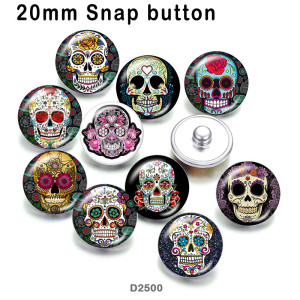 10pcs/lot  skull   glass picture printing products of various sizes  Fridge magnet cabochon