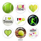 Painted metal 20mm snap buttons   L love tennis  Print