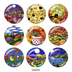 Окрашенный металл Окрашенный металл Кнопки с кнопками 20мм Кнопки с цветным цветочным принтом