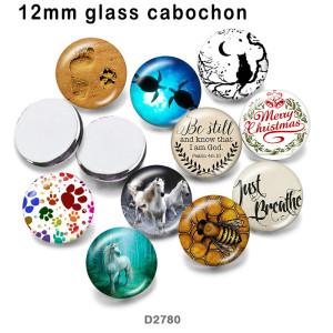 10 pcs/lot produits d'impression d'image en verre de cheval de chat de différentes tailles cabochon d'aimant de réfrigérateur
