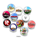Painted metal 20mm snap buttons   Game  Print
