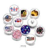 Boutons-pression en métal peint de 20 mm Imprimé drapeau des États-Unis