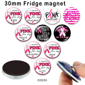 10pcs/lot  Ribbon  words   glass picture printing products of various sizes  Fridge magnet cabochon