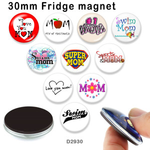 10pcs/lot  MOM  glass picture printing products of various sizes  Fridge magnet cabochon