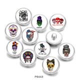 Painted metal 20mm snap buttons   skull   Print