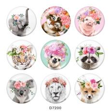 Boutons-pression en métal peint 20 mm Éléphant Art animalier de fleurs Impression de chat