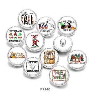 Painted metal 20mm snap buttons   hristmas   Print