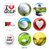 Painted metal 20mm snap buttons  I   Love  golf  Print