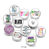 Painted metal 20mm snap buttons  words    Flower   Print