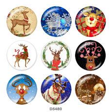 Lackiertes Metall Lackiertes Metall 20mm Druckknöpfe Druckknöpfe Christmas Deer Print