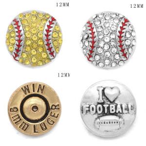 Baseball Football Bullet 12MM Snap versilbert austauschbare Snaps Schmuck