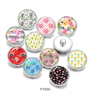 Painted metal 20mm snap buttons   Flower  pattern   Print