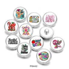 Painted metal 20mm snap buttons  Love  words   Print