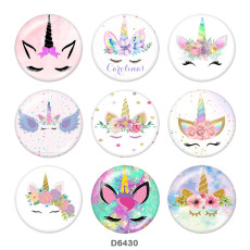 Painted metal 20mm snap buttons  Unicorn  Print