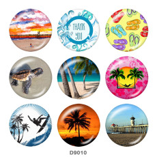 Painted metal 20mm snap buttons   Summer  Sea  turtle   Print