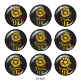 Painted metal 20mm snap buttons Sun Flower  words   Print