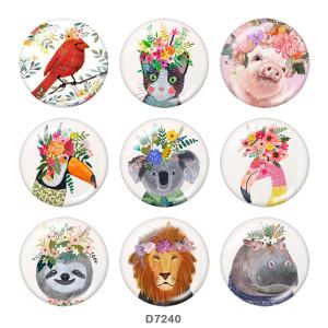 Boutons-pression en métal peint de 20 mm Chat Cochon Animal fleur art Impression
