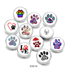 Painted metal Painted metal 20mm snap buttons  snap buttons dog Pattern  Love  Print