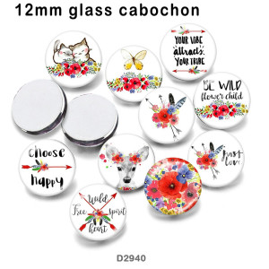 10pcs/lot  Flower  Deer  arrow  glass picture printing products of various sizes  Fridge magnet cabochon