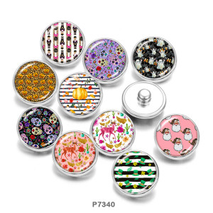 Painted metal 20mm snap buttons  skull   Halloween   Pattern  Print