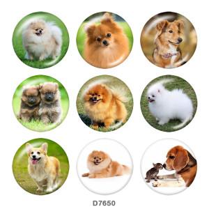 Крашеные металлические кнопки 20мм Dog Print