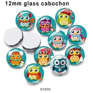 10個/ロットさまざまなサイズの漫画フクロウガラス絵印刷製品冷蔵庫マグネットカボション