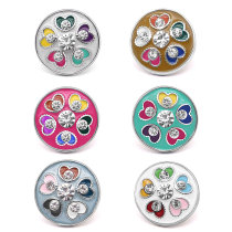 20MM Love design metal snap silver  Plated with Rhinestone snap button
