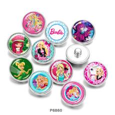 Painted metal 20mm snap buttons  Cartoon  girl   Elves  Print