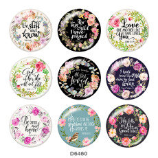 Painted metal 20mm snap buttons   Flower  words   Print