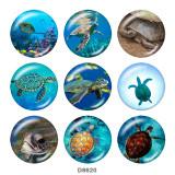 Boutons pression 20 mm en métal peint Imprimé tortue de mer Plage Océan