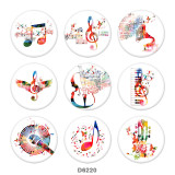 Painted metal 20mm snap buttons   Music  Print